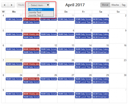 Easy GCalendar 2017 filter Demo