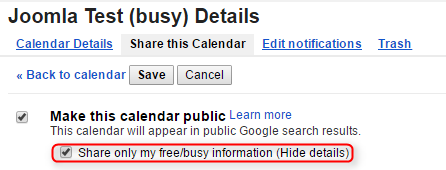 Google Calendar free / busy settings
