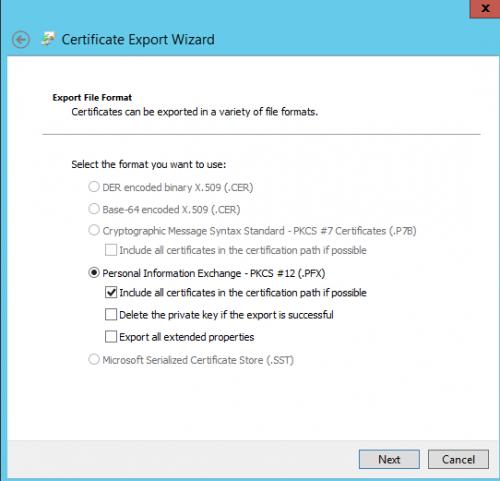 Hyper V 2012 with SSL export certficate Step03
