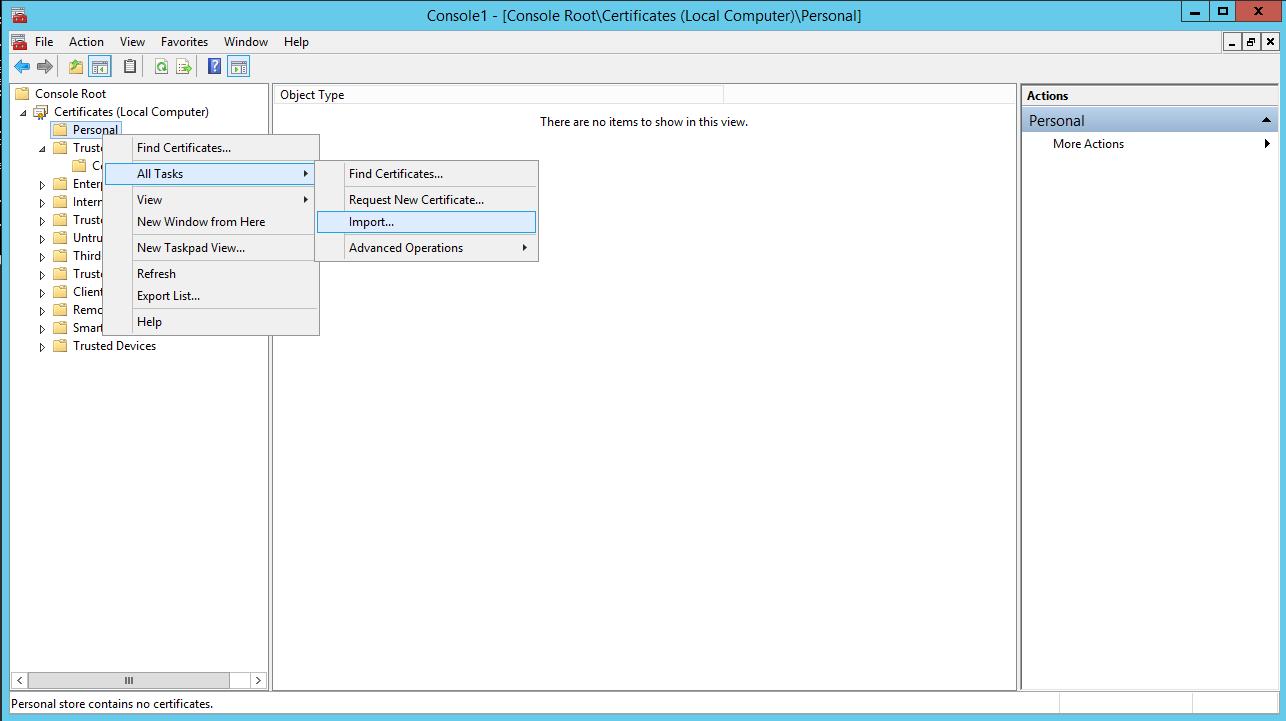 Hyper V 2012 with SSL import certficate step01