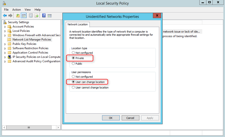 Unidentified networks in Windows Server 2012 forced to be